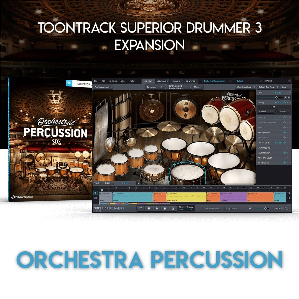 ORCHESTRAL PERCUSSION - TOONTRACK SUPERIOR DRUMMER 3 EXPANSION (WINDOWS 64BIT VSTi)