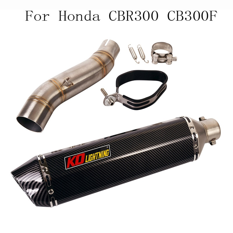 Slip on Motorcycle Exhaust Muffler Silencer Escape Tip Connector Section Link Pipe for Honda CBR300R CB300F