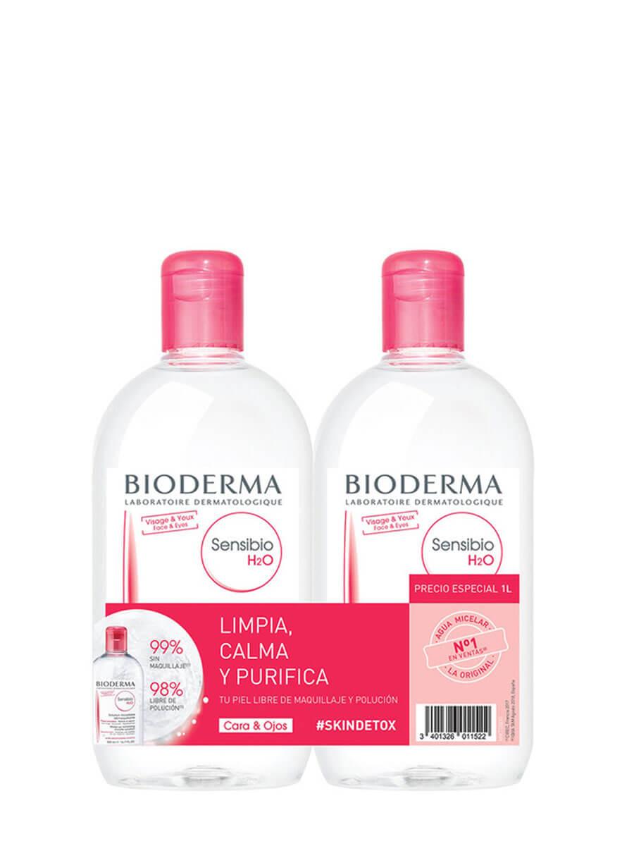 Bioderma sensibio h2o agua micelar pack duplo 500 ml Limpia y tonifica tu rostro en un solo paso