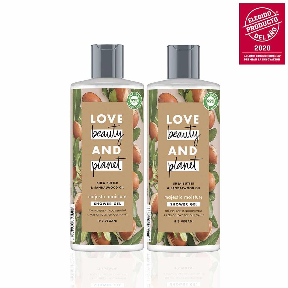 LOVE BEAUTY AND PLANET набор 2 геля для душа для пиеля, увлажненного и светящегося веганского масла ши и сандалового дерева, 100% перерабатываемый
