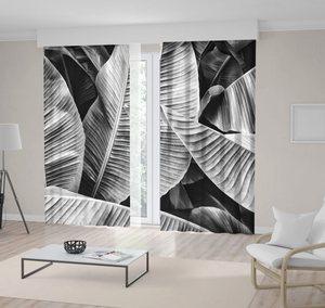 Curtain Tropical Jungle Palm Leaves Banana Foliage Decorative Monochromic Photo Black and White