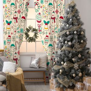 Curtain Snowmen, Garlands, Hats, Gloves, Gifts, Bells, Trees, snowflakes Christmas Celebration Theme Doodle Art Red Green Beige