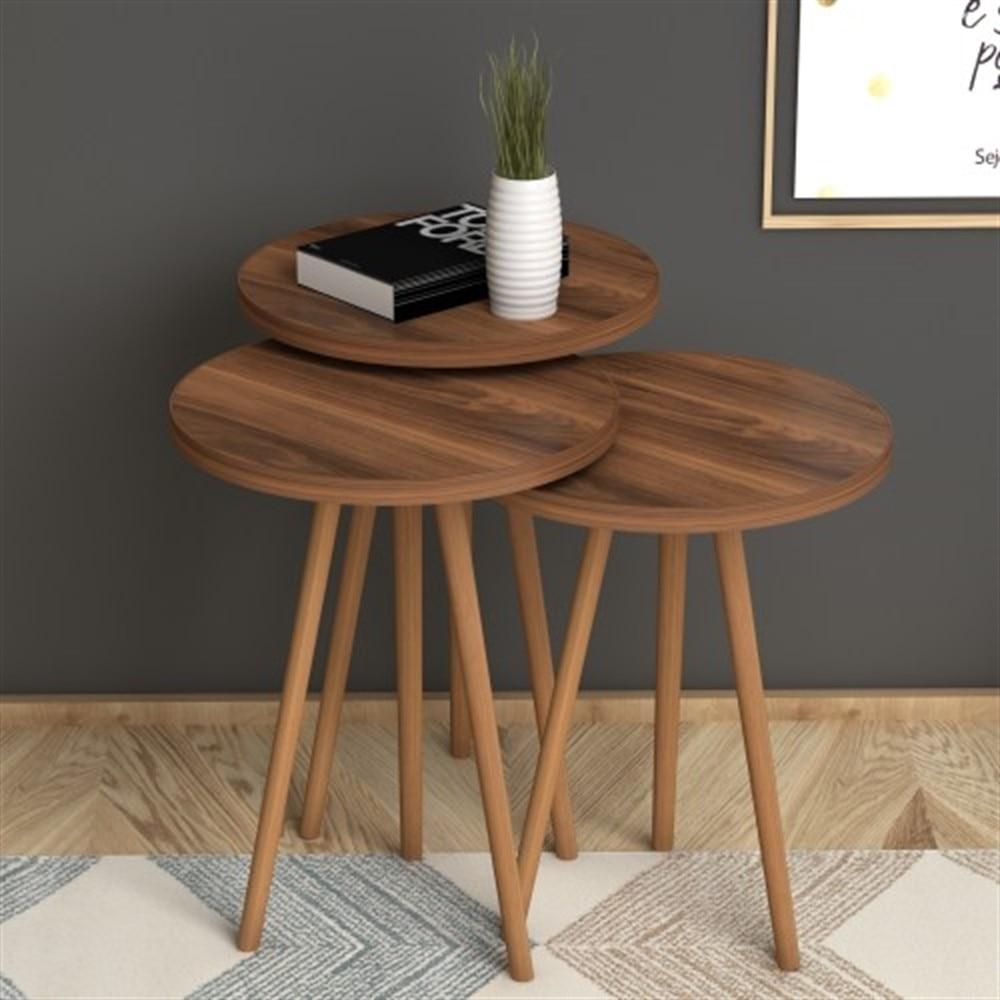 Сделано в Турции 3 шт. журнальные столики Мини Современные коричневые практичные прочные чайные столы для гостиной Zigon деревянные аксессуар...