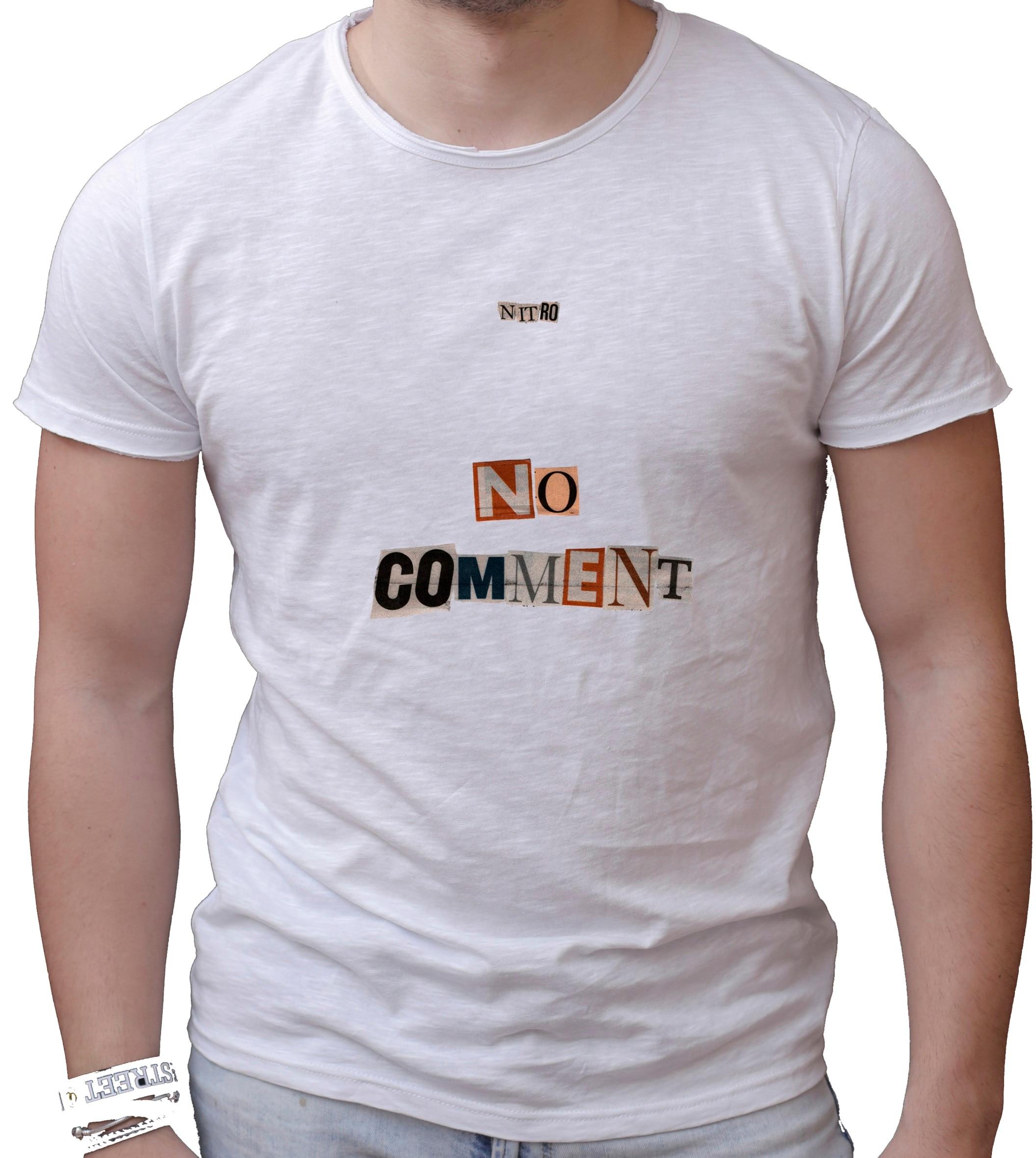 Camiseta Hombre algodón fiammato Scollo ampio-NITRO NO comentario MODELLO 2 hecho en Italia