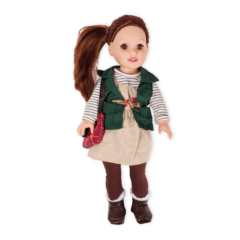Muñeca Demi star Chloe morena en un verde sin mangas beige Sarafan marrón pantimedias