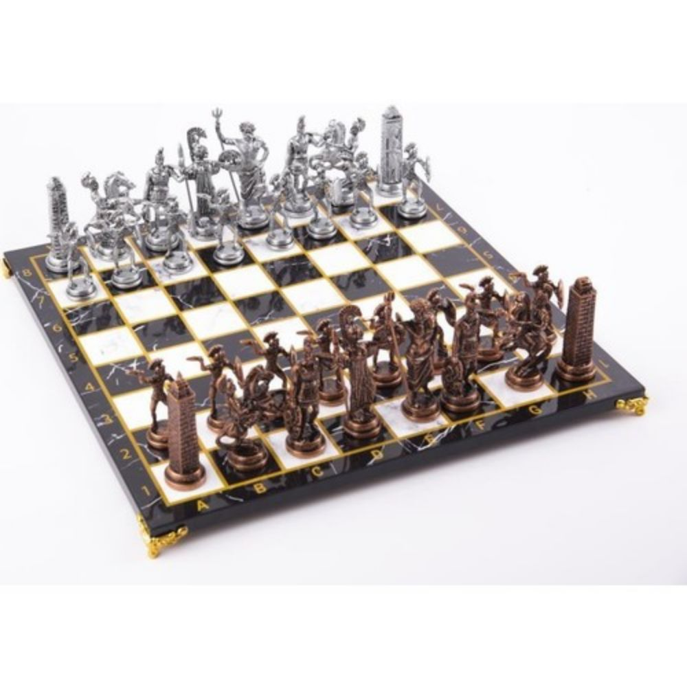 Big Size Metal Chess set Date Roman Figures High Quality Chrome Plated King Size 11 Cm Marble Patterned Board