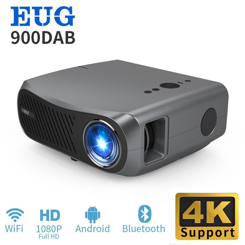2021 900DAB Projector Support 4K Beamer 1080P Resolution Android 6.0 Black Color WIFI Blueteeth Home