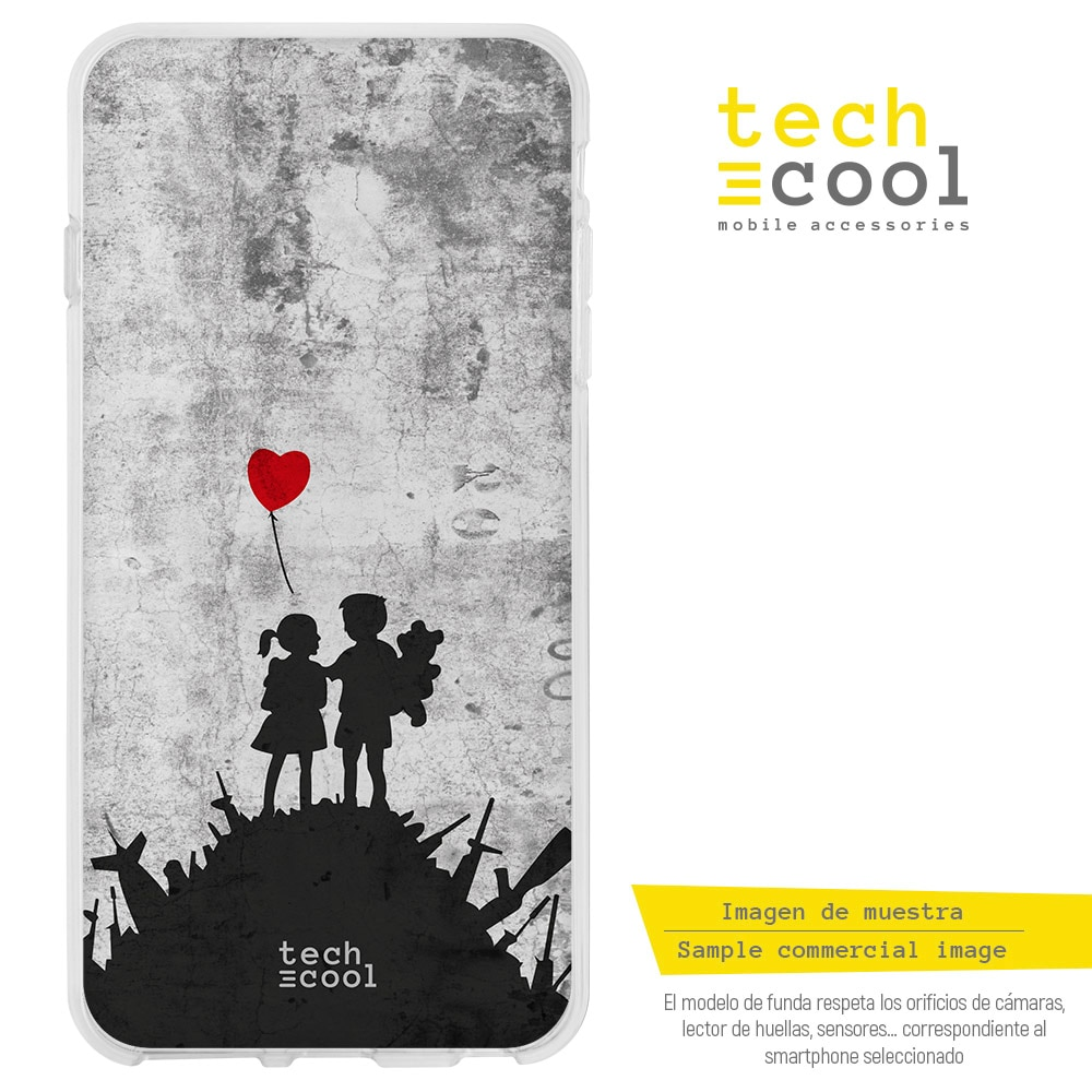 FunnyTech® Funda Silicona para Huawei Y3 2017 l Graffiti banksy niños guerra globo rojo