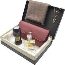 Coffret cadeau marron-portefeuille cuir-châle Pashmina-collier-AVON Parfüm