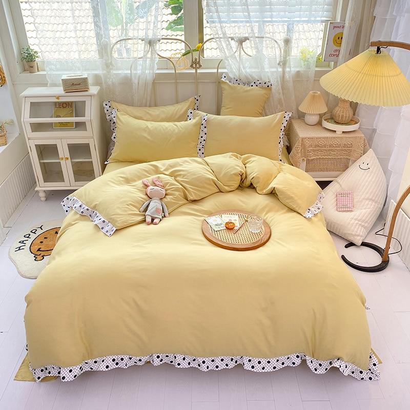 الشمال طقم سرير أغطية سرير المفرش المخدة بلون الكورية حاف الغطاء واحد 150x200 البساطة الدانتيل الوردي المفارش