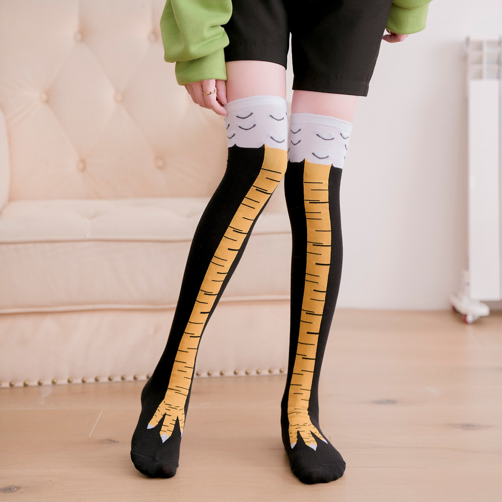Chicken Feet Patterned Knee Socks 1 Pair 80% Cotton 19% Polyemide 1% Elastane 37-44 Size носки Socks Funny Unisex Skarpety
