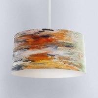 Else Orange Yellow Gray Water Color Digital Printed Fabric Chandelier Lamp Drum Lampshade Floor Ceiling Pendant Light Shade