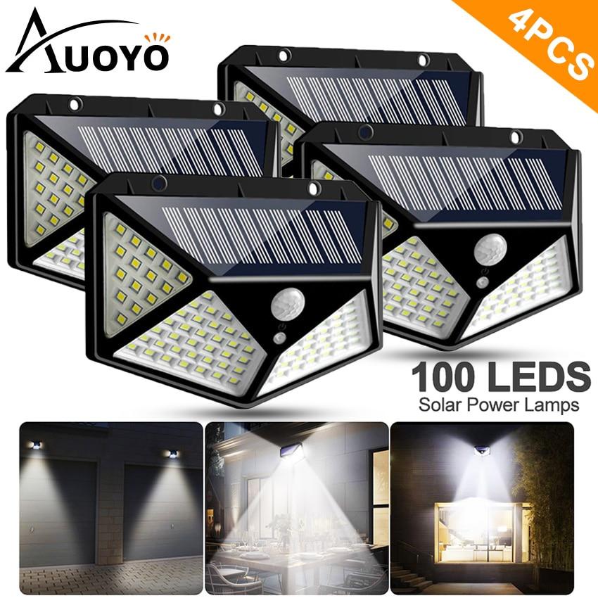 Auoyo 100 Luces Solares LED iluminación exterior móvil sin cables Sensor luces IP65 impermeable 270 ° gran angular de seguridad luces de pared