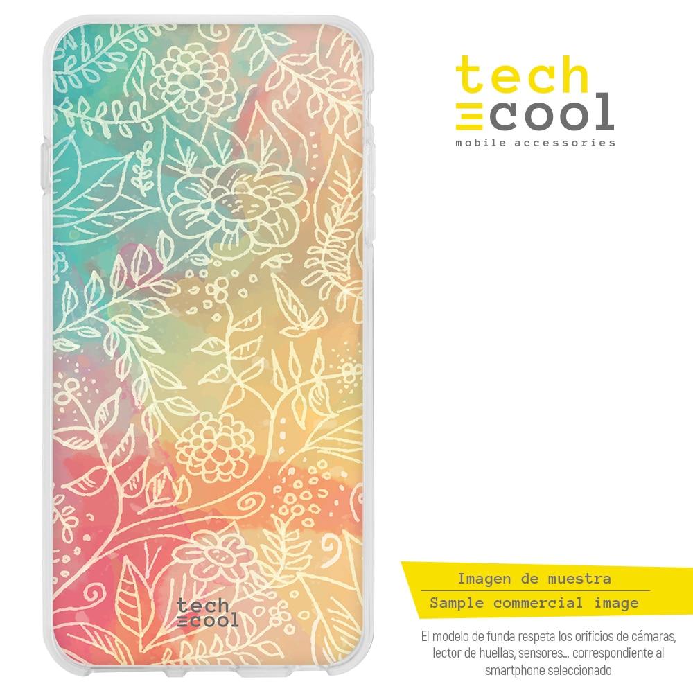 FunnyTech® Funda Silicona para Xiaomi Redmi Note 8 l Flores fondo colores