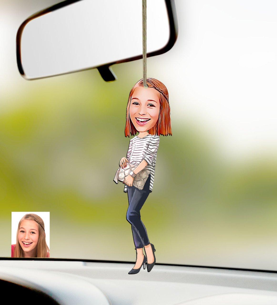 Süsü-11-مرآة سيارة خشبية ، شخصية