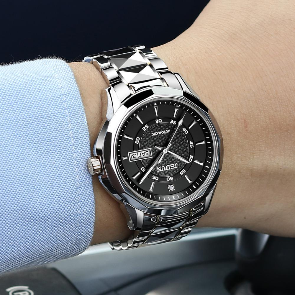 JSDUN, reloj mecánico automático de hombre con acero de tungsteno, resistente al agua, luminoso, movimiento japonés, lujoso reloj de negocios para hombre 8014