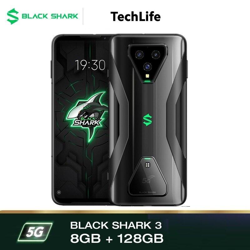 Перейти на Алиэкспресс и купить Черный с изображением акулы 3 5G 128 ГБ Встроенная память 8 ГБ Оперативная память-глобальный Snapdragon игровой телефон смартфон мобильный Blackshark Со...