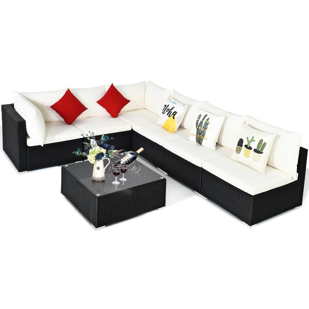 7PCS Patio Rattan Sofa Set Sectional Conversation Furniture Set Garden Beige HW66524WH+