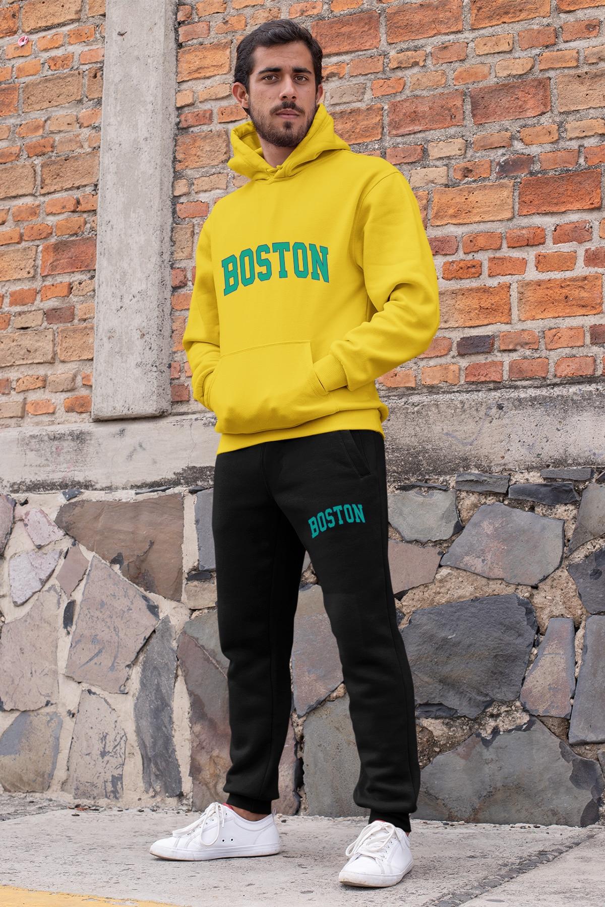 Angemiel wear cor azul boston conjunto de treino masculino amarelo com capuz moletom preto sweatpants