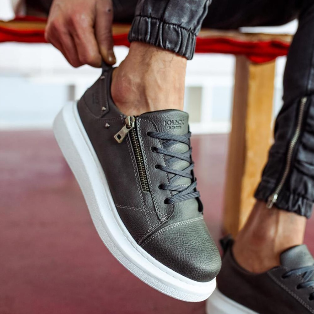 Knack Casual Shoes Gray Color (White Sole) Lace-Up Zipper Closure Stitched High Sole Summer Spring Season Flamboyant Sneakers barefoot shoes men casual shoes work shoes trainers men men sneakers luxury brand 555