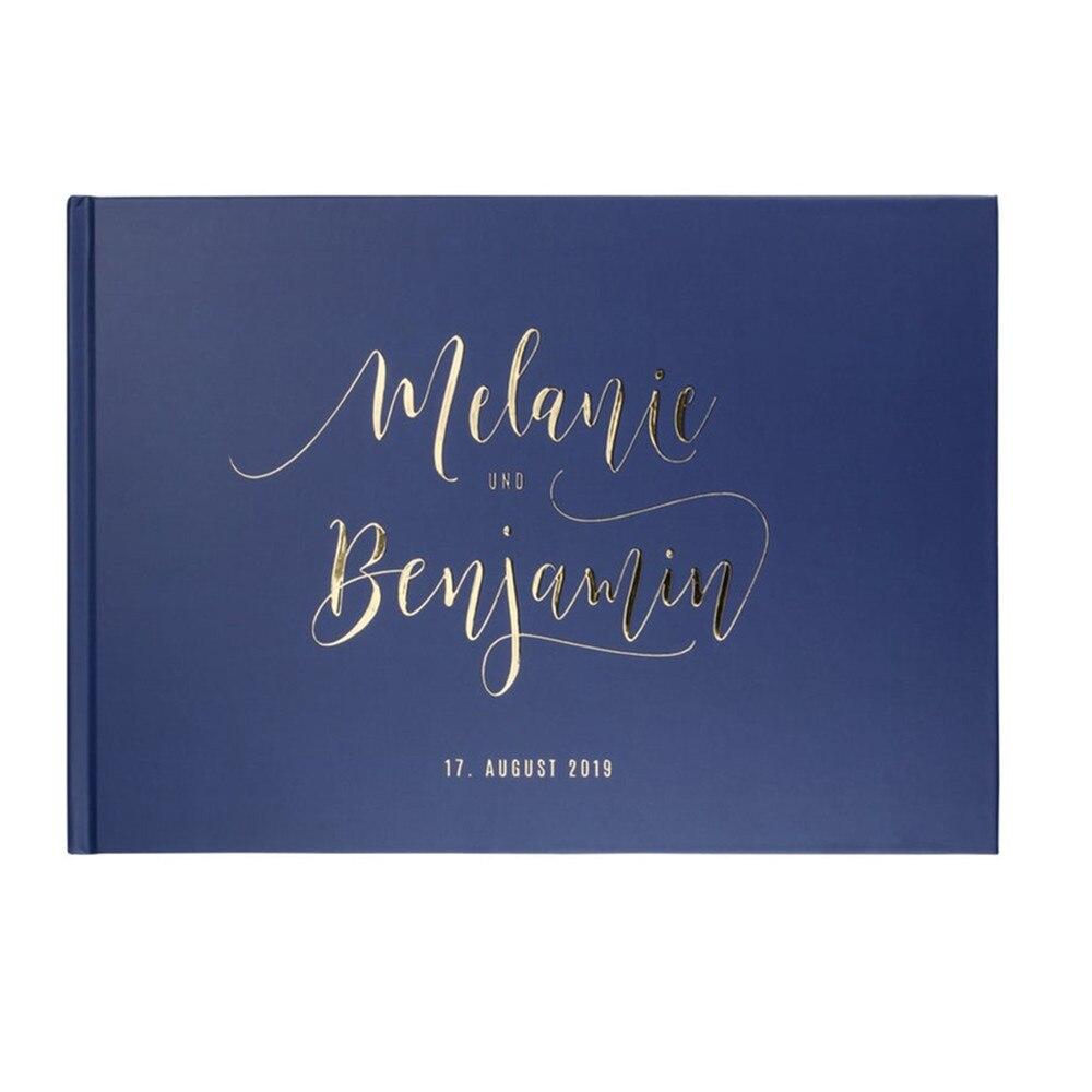 Libro de Visitas de boda personalizado en cualquier idioma, libro de invitados de papel de aluminio dorado, diario de compromiso nupcial, libro de fotomatón, letrero de invitado en libro