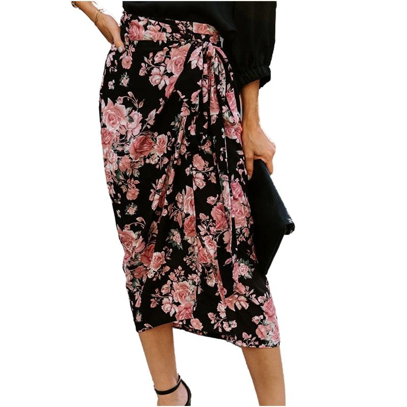 Womens Summer Boho Floral Print Split  Dress Hight Waist Wrap Cover Up Maxi Skirt Irregular Hem  Dress With Belt retro floral print skater pin up dress