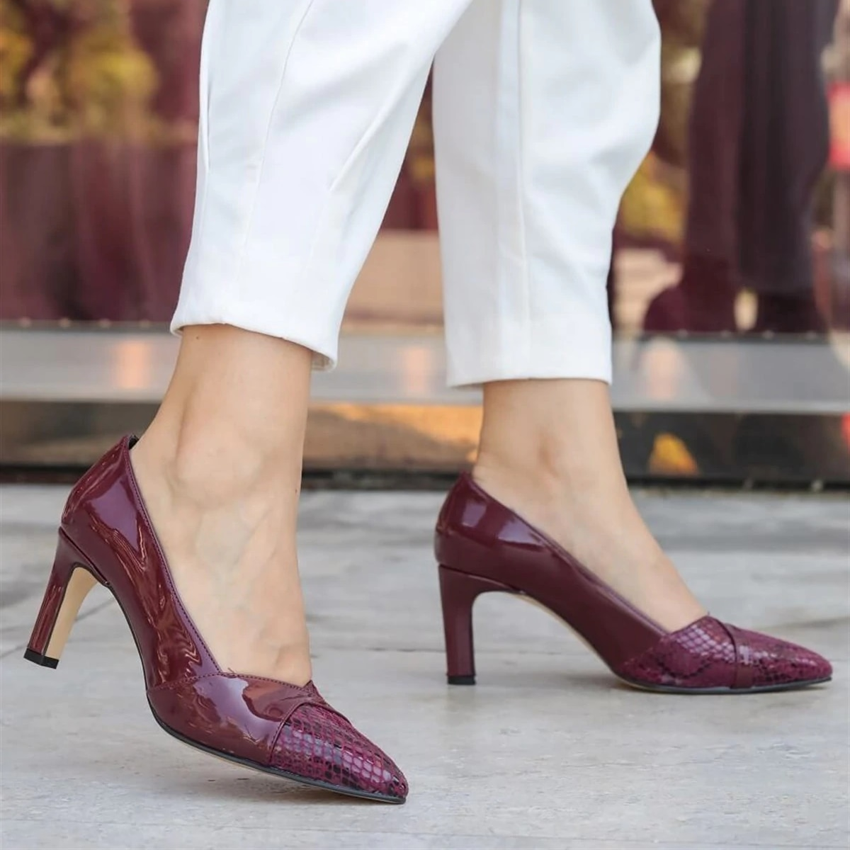 Mio Gusto-أحذية نسائية بكعب عالٍ خنجر ، أحذية عالية الجودة ، أحذية ماري جين ، لون أسود كحلي ، بورجوندي ، عاري ، ألوان أسمر 6 سنتيمتر منصة الأحذية