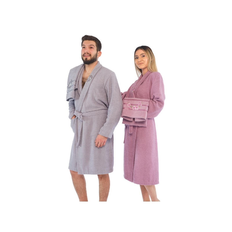 Women Men Bathrobe Towel Set Embroidered 4-piece 100% Cotton Made in Turkey Fabric that absorbs water immediately