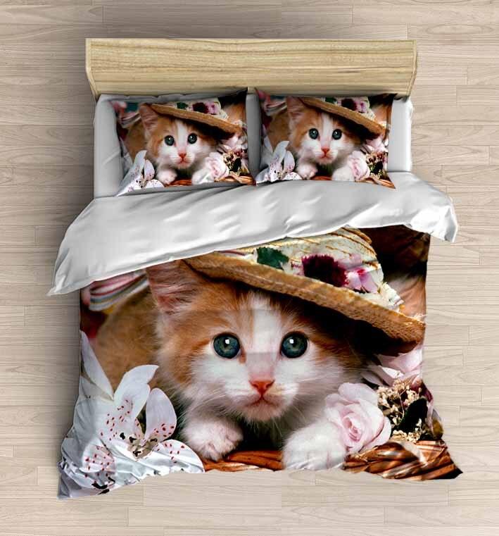 قبعات قطة لطيفة بنية ، 4 قطع ، طباعة ثلاثية الأبعاد ، قطن ، ساتان ، غطاء لحاف مزدوج ، طقم سرير ، كيس وسادة ، ملاءة سرير