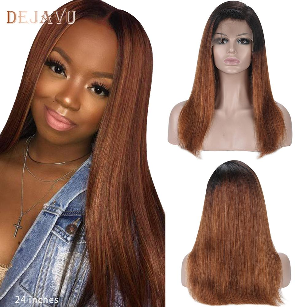 Dejavu Ombre Human Hair Wigs for Women Brazilian Straight 13X4 Lace Front Wigs 150% Human Hair Wig 2 Tone Lace Front Wigs