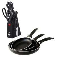 SAN IGNACIO Game 3 sauce pans (162024) and 6 stainless steel kitchen supplies