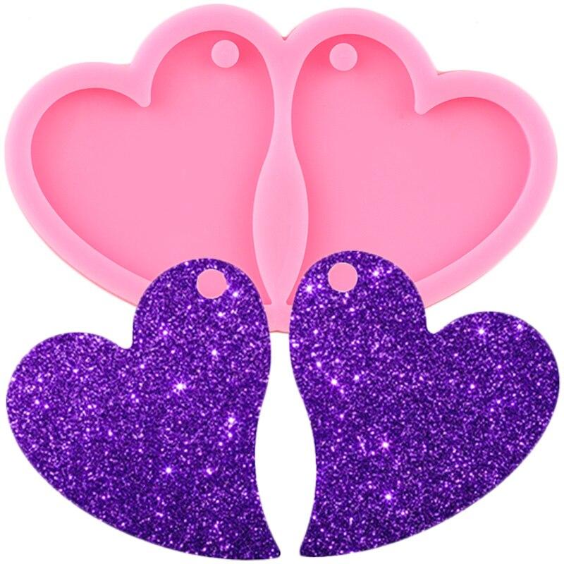 L/M/S brillante forma de corazón DIY Epoxy pendientes joyería de moda artesanía de resina molde amor moldes de silicona llavero colgante moldes de arcilla