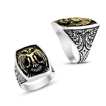 Anillo de Plata de Ley 925 con diseño de águila albanesa para hombres, anillo elegante de Alemania con doblez y águila Original, anillo de plata con patrón antiguo para hombres