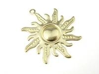 brass sun charm earring findings 33x30x1 7mm solid brass flower pendant r1519
