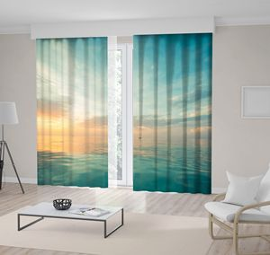 Curtain Relaxing Seascape with Wide Horizon Sky and Sea Scenic View at Sunset Blue Yellow