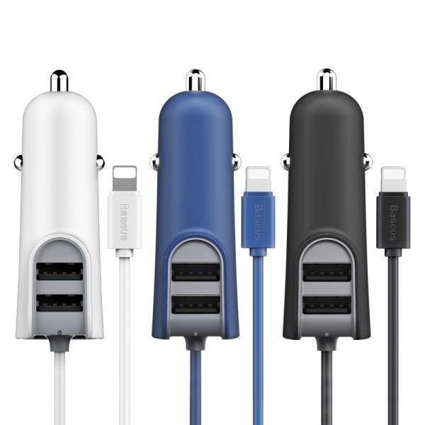 АЗУ с 2-мя USB выходами для iPhone 5/6/7 BASEUS Staton Energia Com Linha Multi CCNL-02 1м