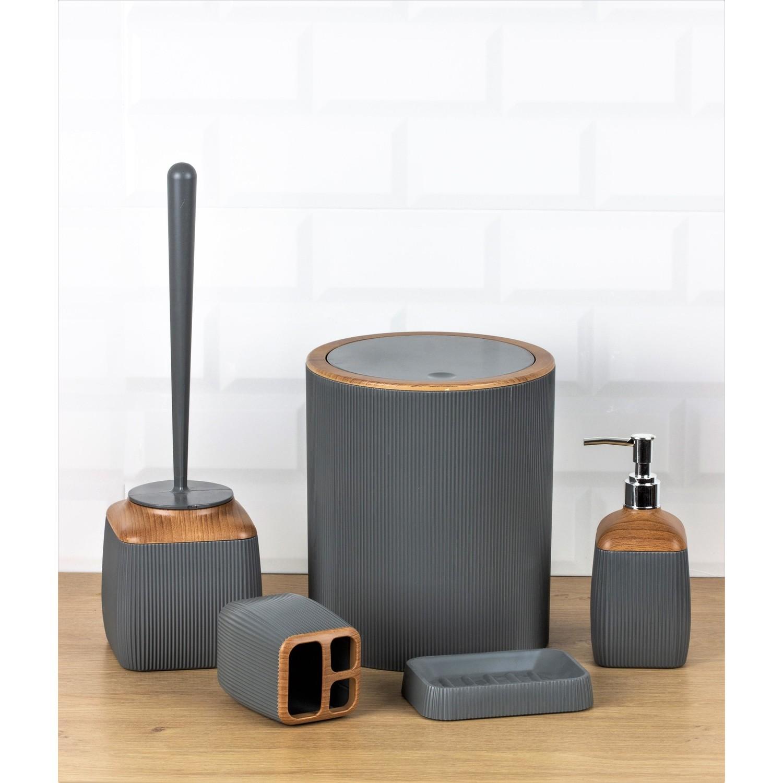 OceanLand Wooden Patterned Striped Hard Plastic 5 Piece Bathroom Set Toothbrush Holder Soap Dispenser Toilet Brush Dustbin enlarge