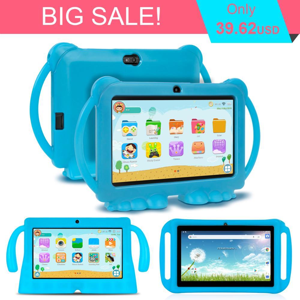 Tableta doble de 7 pulgadas para niños, juego educativo de aprendizaje, tableta de regalo de cumpleaños, funda de silicona, tableta 1GB 16GB