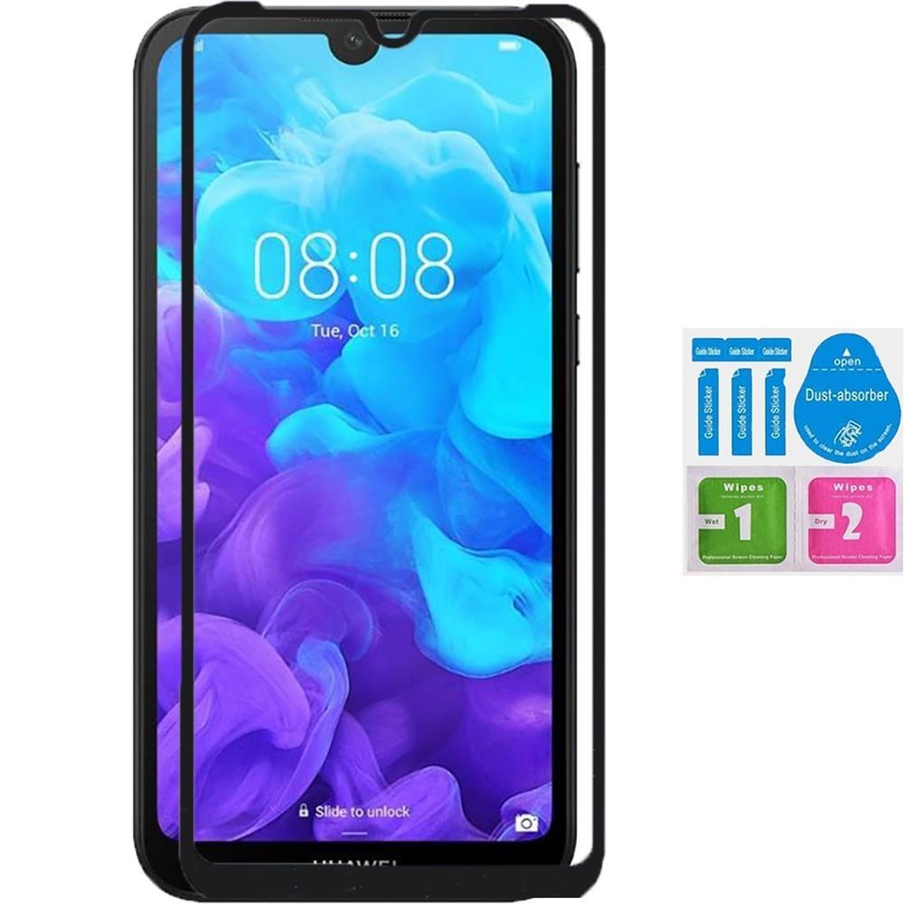 Bildschirm Schutz KRISTALL gehärtetem glas 3D volle schwarz covers 100 LCD für für Huawei Y5 2019 KIT