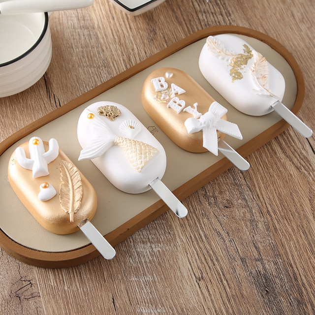 Useful acrylic Ice Cream Sticks Popsicle Stick Kids Crafts DIY Handmade Making Crafts Baby Shower Kis Gift 11.3x1cm 8