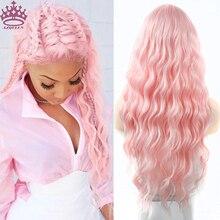 Azqueen longo cor-de-rosa perucas onda de água resistente ao calor peruca sintética para mulher parte média peruca de cabelo natural