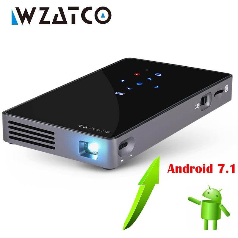 WZATCO-Proyector portátil CT50, sistema operativo Android 7,1, WIFI, Bluetooth, Pico Mini, Micro...