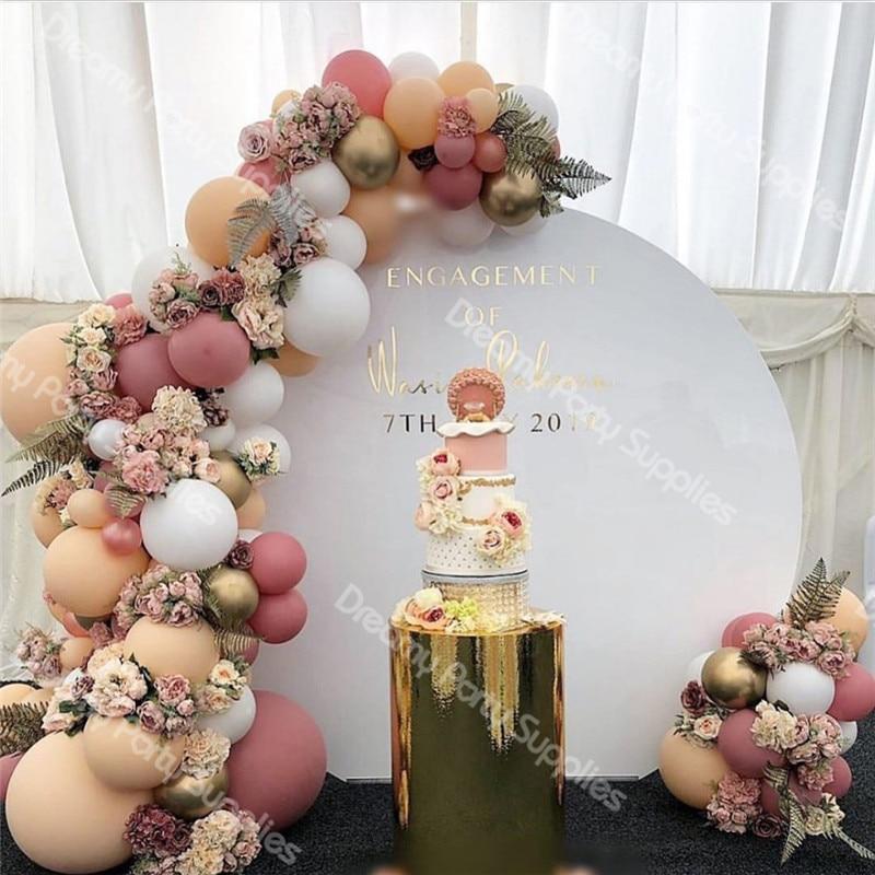 171 Uds DIY Retro duvoriento Rosa melocotón globo guirnalda arco Kit oro blanco globo para cumpleaños Baby Shower Fiesta de bodas Decoración