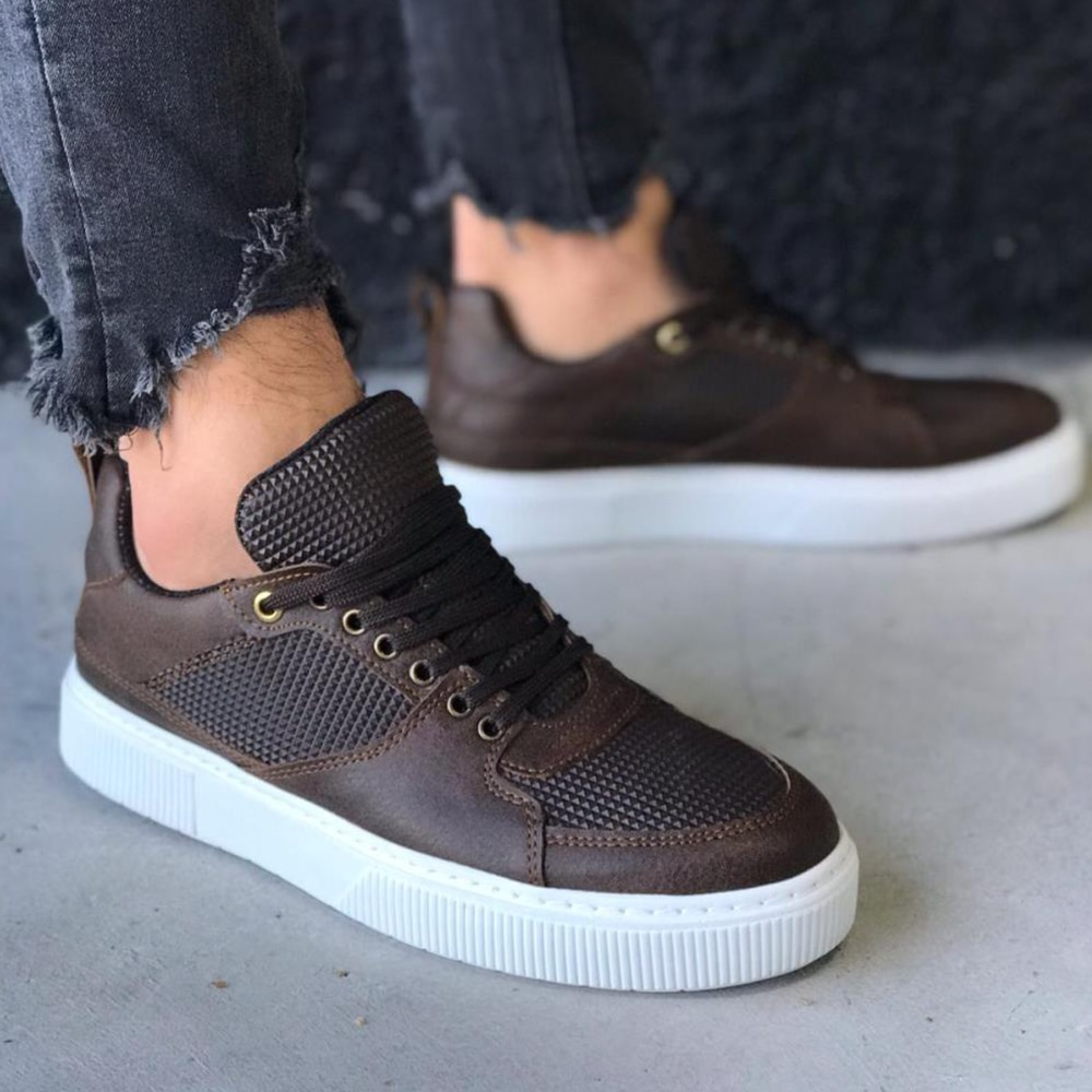 Knack Casual Men's Sneakers Brown Color Comfortable Stitched White High Sole Faux Leather Lace-Up Summer Spring Season Mens Casual Shoes Men Sneakers Luxury Brand High Quality Free Shipping Shoes Designer Shoes 035