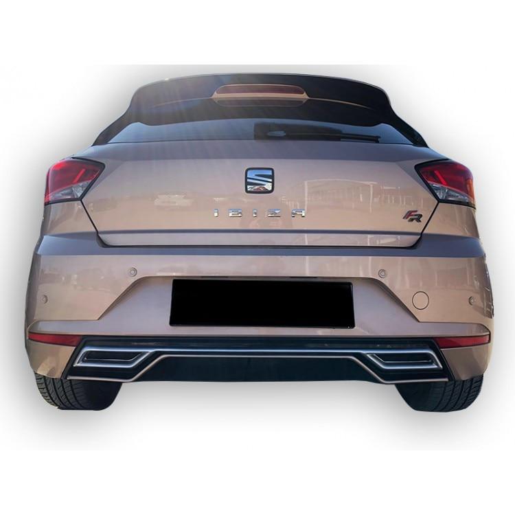 For Seat Ibiza 6F 2017 Post sports tail rear bumper diffuser lip. Bright Black Gray Detailed