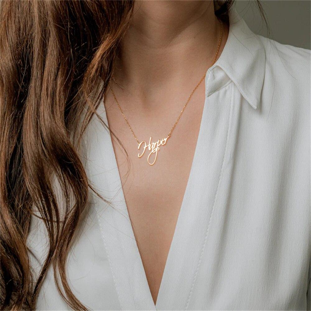 Ожерелье Tangula с именем на заказ, персонализированная табличка из нержавеющей стали, шрифт, элегантная Минималистичная Женская семейная биж...