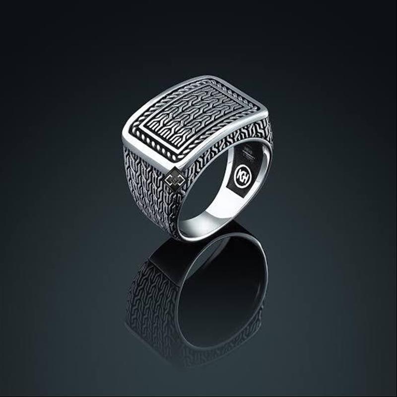 منقوشة تصميم بسيط للرجال نقية 925 فضة خاتم هدية اكسسوارات اليدوية التركية مجوهرات