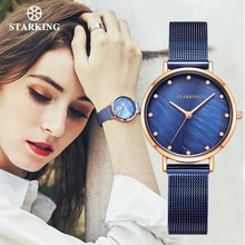 STARKING mode femmes montres à Quartz 30mm petite taille dame robe montre étanche coquille fenêtre maille ceinture saphir cristal montre