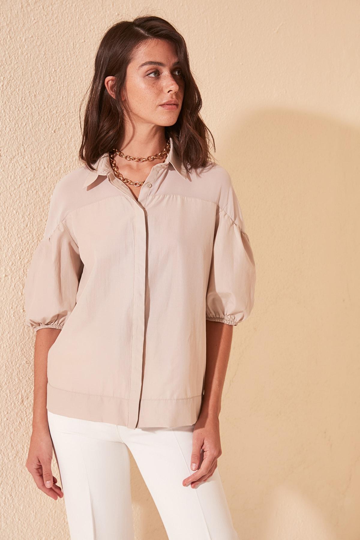 Trendyol шин подробный рубашка TWOSS20GO0304