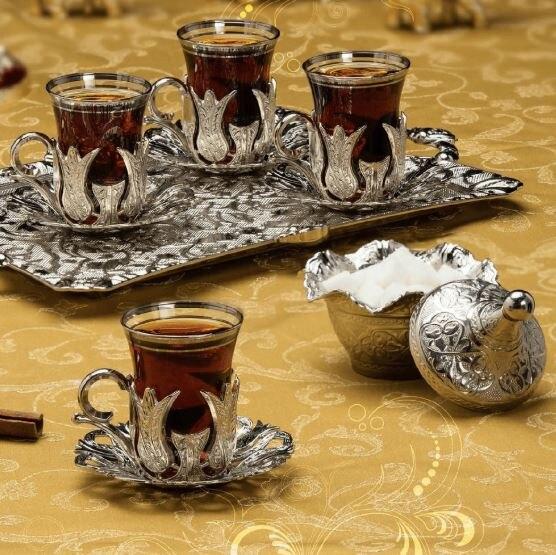 15 piezas para té turco de Plata cuatro personalidad té agua y rectangular de té presentación bandeja y tazón de azúcar